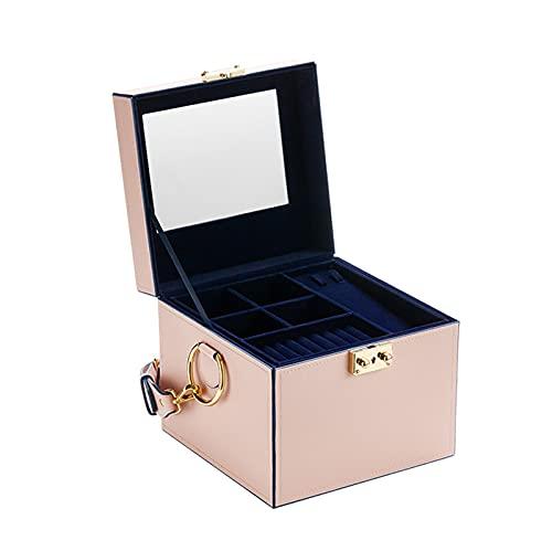 Caja de joyería Cajas de joyería de Viaje Rosa con Bolso de Almacenamiento de joyería de Cuero de PU de Lock & Espejo para Anillos, Collares, Pendientes, Pulseras Caso Organizador