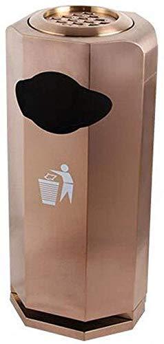 cjcaijun Mülleimer Trash kann Diamanten Trash Can Hotel Lobby Büro Edelstahl-Mülleimer Garten Badezimmer im Freien mit Aschenbecher Mülleimer Mülleimer (Farbe: Rose Gold) Mülleimer (Size : Rose Gold)