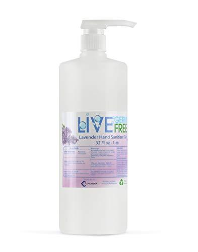 Live Germ Free, Antibacterial Hand Sanitizer Gel, Coconut Scent, with Jojoba Oil, Aloe Vera, & Vitamin E - 1 Quart