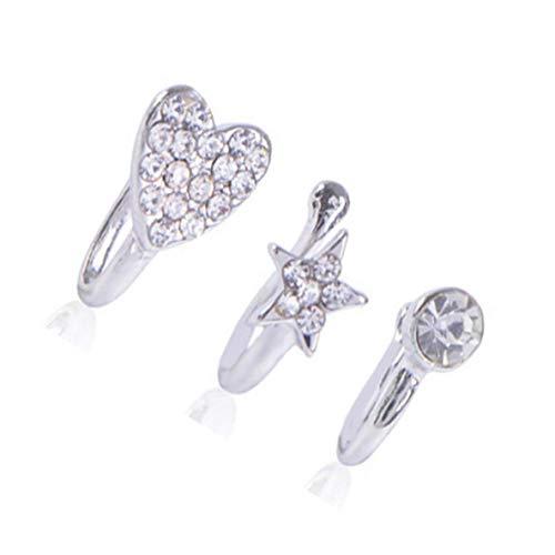 Colgante Pendientes Diamantes de imitación con clip del anillo de nariz de Medicina señoras del cuerpo femenino del clip de aro for el regalo clip de la joyería de las mujeres Septum Piercing