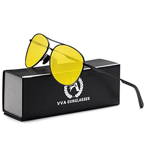 VVA Occhiali da sole Uomo Polarizzati Pilota Uomo Occhiali da sole Polarizzati Unisex UV400 Protection By V101(Visione Notturna, 2.44)