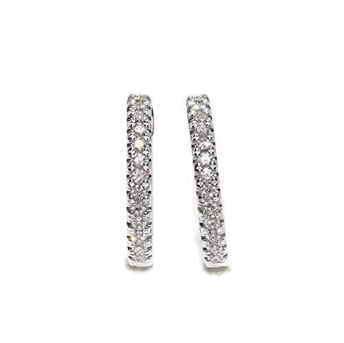 Pendientes Aros ovalados de oro blanco de 18k con 26 diamantes talla brillante de 0.38cts Tamaño; 1.80cm de diámetro y cierre clik interno de seguridad. Peso; 3.95gr de oro de 1ª Ley