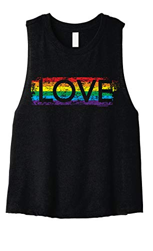 Gay Pride Rainbow Love | LGBT Design Women's Crop Top Racerback Tank | Small, Black