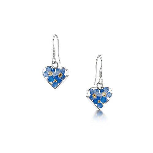Orecchini in argento Sterling, con pendente a forma di cuore con anima di vero fiore di non ti scordar di me, in confezione regalo e argento, colore: Blue, cod. FE02