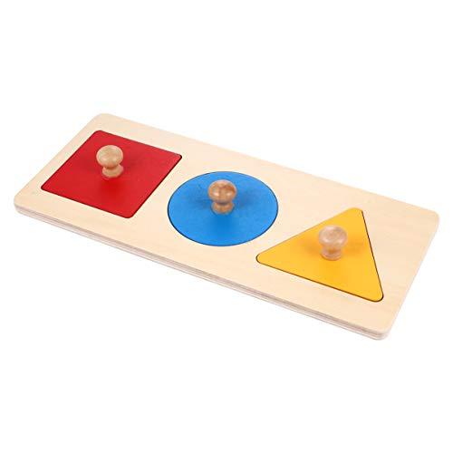 TOYANDONA 1 Satz Geometrisches Puzzle Board Montessori Mehrere Form Puzzle Knopf Holz Puzzle Board Vorschule Lernmaterial Spielzeug für Baby Kleinkinder Kinder