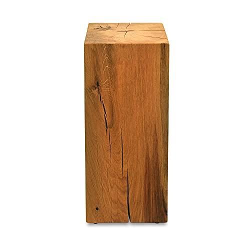 MS FACTORY Bloque de Roble de Madera Maciza - Cubo, Tronco de Madera - Mesa Auxiliar, Columna Decorativa, Soporte de Madera, Mesa de Madera, Base de Flores, Mesita de Noche - 20 x 20 x 60 cm