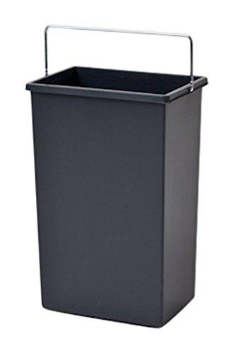 Hailo Inneneimer 10 Liter Kunststoff dunkelgrau mit Henkel verchromt Abfallsammler, Plastik, 22.6 x 15.4 x 34 cm