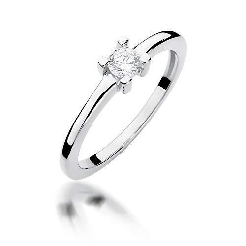 Women's Solitaire Promise Ring Engagement Proposal Ring 585 14 Carat Gold Natural Real Diamond Diamonds Diamonds J-K White Gold