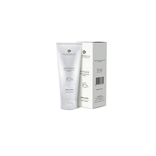 ALKEMILLA - Crème Corporelle 16% Glycolica - Soin intensif et régénérant pour les cellules cutanées - Idéale pour les vergetures - Action exfoliante - Vegan & Nickel-Tested - 100 ml