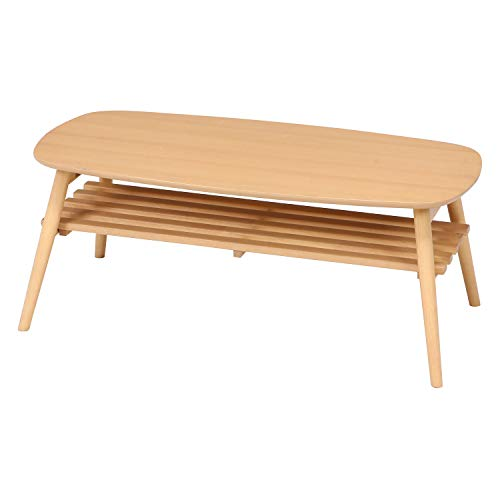 不二貿易 折りたたみ ローテーブル 幅100cm 棚付き ナチュラル 完成品 96351
