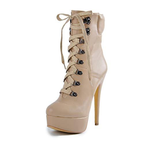 Onlymaker Damen Schnürstiefeletten Plateau Pumps Ankle Boots Stilvolle Platform Knöchelstiefel mit Stiletto Absatz Beige 46 EU