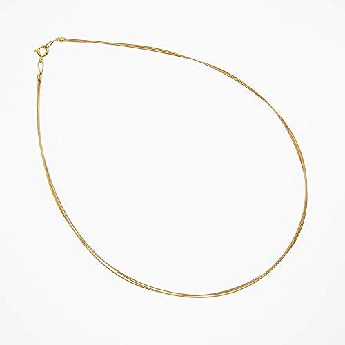 Biegsamer Hals-Reif gold drei-reihig/jede Länge/dünne End-Schlaufe für Anhänger mit kleiner Bohrung/hochwertig vergoldetes Silber und Stahl-Seide