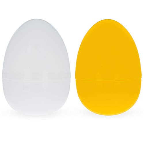 Set of 2 Yellow And White Giant Fillable Plastic Easter Eggs 10 Inches