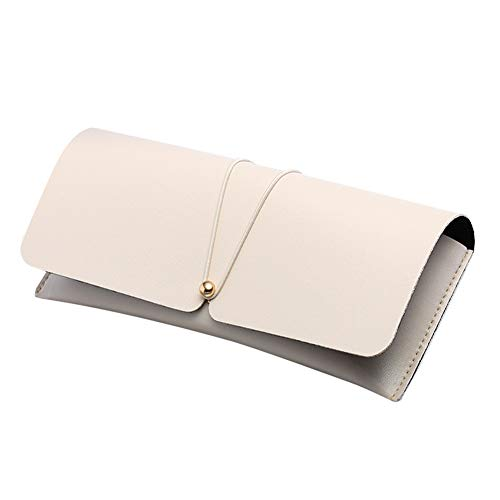 Lubier 1pcs occhiali caso custodia morbida da sole in pelle occhiali da vista caso scatola di protezione per le donne e gli uomini (Beige)