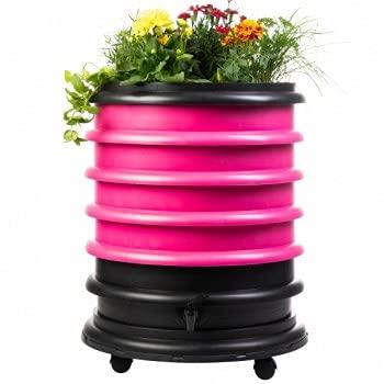 Lombricomposteur WormBox 3 Plateaux Fushia et jardinière - 56 litres - Recyclez Vos déchets organiques en Engrais pour Vos Plantes 🌻