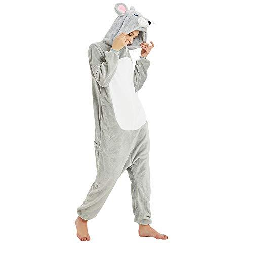 ZHHAOXINPA Pijama Animal Cosplay, Onesies Pijama Halloween Fiesta Unisex-Adulto Ropa de Dormir Kigurumi Mascarada - Ratón, XL