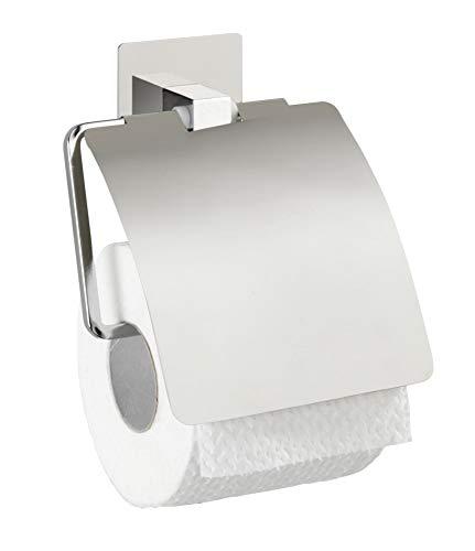 WENKO Turbo-Loc® Edelstahl Toilettenpapierhalter mit Deckel Quadro