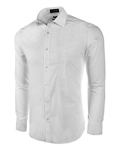 Marquis Men's Basic Slim Fit Dress Shirt White Small 14-14.5 Neck 32/33 Sleeve