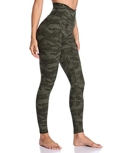 Colorfulkoala Women's High Waisted Pattern Leggings Full-Length Yoga Pants (S, Army Green Camo)