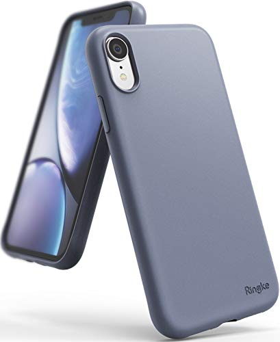 Ringke Air-S Case Compatible with iPhone XR Case, Matte Back Shockproof TPU Flexible Slim Fitting Cover with Lanyard Hole - Lavender Gray