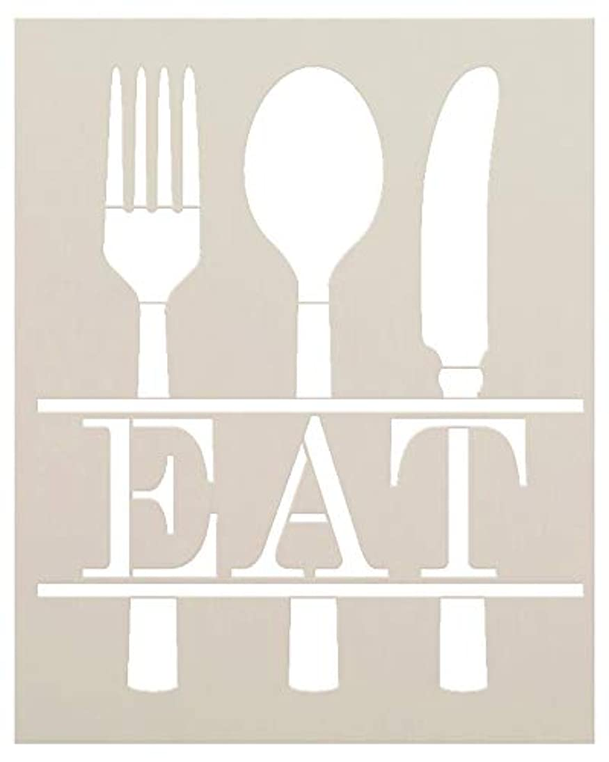 Eat with Silverware Stencil by StudioR12 | Reusable Mylar Template | Use for Painting Wood Signs - DIY Kitchen & Dining Decor - Mixed Media | Select Size (8
