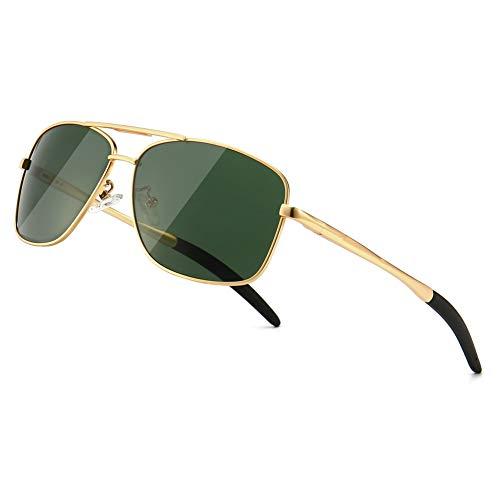 SUNGAIT Lunettes de soleil polarisées avec monture durable en métal pour la pêche/le volant/le golf pour les hommes (Or/Vert) 0925