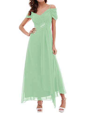 Formal Prom Dresses Chiffon Wedding Guest Gowns Long Bridesmaid Dress Off Shoulder Mint Green US22W