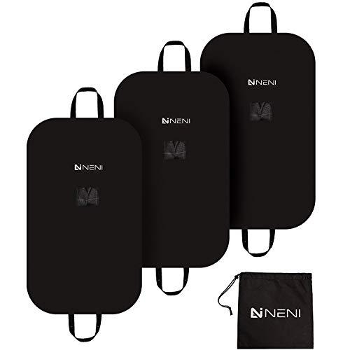 NENI Kleidersack 3er Set inkl. Schuhbeutel - Premium Kleiderhülle mit Sichtfenster für Anzug, Kleid und Hemden - Atmungsaktive Business Reise Anzugtasche mit Reißverschluss in 100 x 60 cm