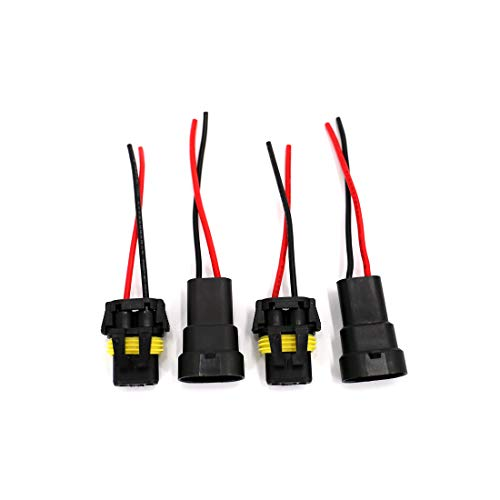 UTSAUTO 2Set 9005 9006 H10 Wire Connectors Female & Male Adapter Wiring Harness Sockets Wire 12V for LED Headlights Fog Lights