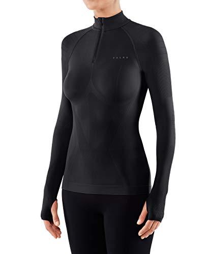 FALKE Warm Tight Fit Zip W L/S SH Couche de base supérieure Femme, Noir (Black 3000), S