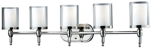 Z-Lite 1908-5V Argenta 5 Light Vanity Light, Metal Frame, Chrome Finish and Matte Opal Glass Inside and Clear Outside Glass Shade of Glass Material