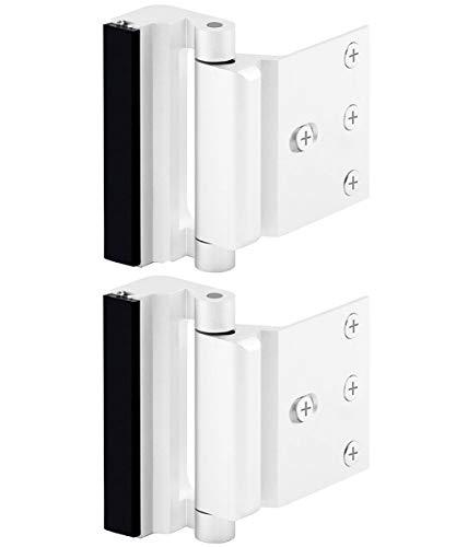 Home Security Door Lock, Childproof Door Reinforcement Lock with 3 Inch Stop Withstand 800 lbs for Inward Swinging Door, Upgrade Night Lock to Defend Your Home (White-2 Pack)