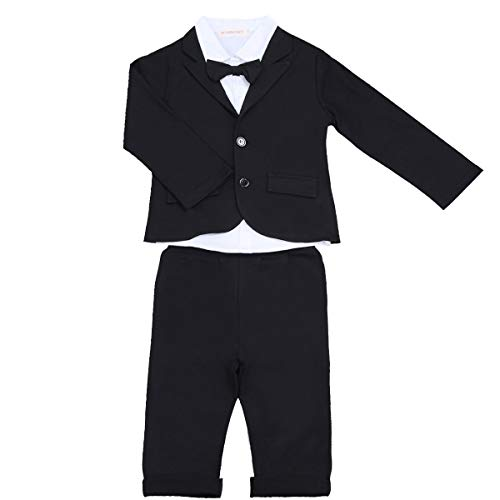 YiZYiF 3 Stück Baby Kinder Jungen Kleidung Set Party Taufe Hochzeit Smoking Anzüge & Sakkos Mantel Coat + Shirt + Pants Hose Outfits Gr. 80 86 92 104 Schwarz Weiß 86-92