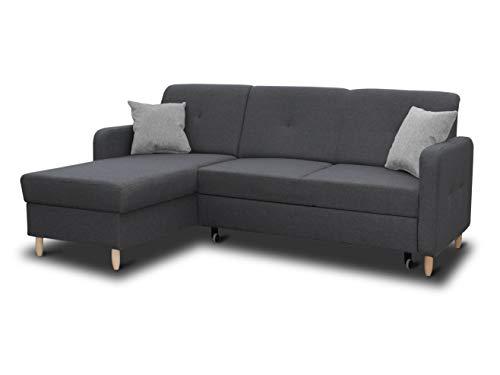 Ecksofa Oslo mit Schlaffunktion und Bettkasten - Scandinavian Design Couch, Sofagarnitur, Couchgarnitur, Polsterecke, Holzfüße (Graphit (Inari 94 + Inari 91), Ecksofa Links)