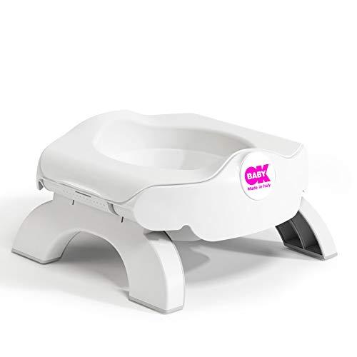 OKBABYAsiento Reductor de WC y Orinal de Viaje, Roady-Diseño Compacto y Ligero, Base de Goma Antideslizante, Taza Interior Extraíble, Reductor de WC y Orinal de Aprendizaje para Niños Pequeños, Blanco