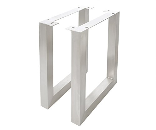 DELIFE 2er-Set-Tischgestell Live-Edge Edelstahl gebürstet breit 7,5x7,5 cm Tischbeine