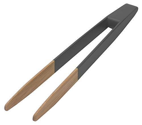 Pebbly NBA032 Pince à Toast Noir, Bambou, Non aimantée-Anthracite, 24