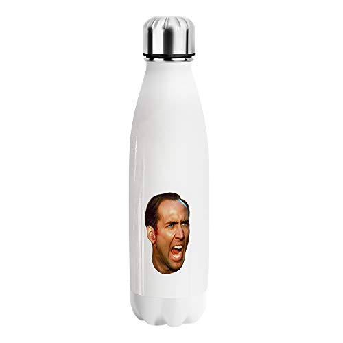 Nicolas Cage Angry Clipart Wasserflasche aus Edelstahl, C119, 500 ml, BPA-frei, lustig, niedlich, vakuumisoliert, wiederverwendbar, für Sport, Wandern, Fitnessstudio, robuste Trinkflasche