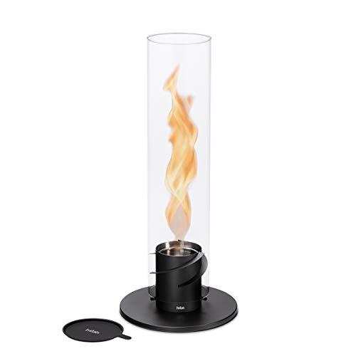 höfats - Spin 120 Schwarz inklusive Edelstahl Nachfülldose - Bioethanolkamin für Indoor und Outdoor - Tischfeuer, Windlicht und Gartenfackel aus Edelstahl