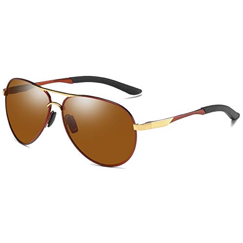 WHSS Gafas de sol polarizadas de metal gafas de sol de visión nocturna Marrón/Negro Hombres y Mujeres con la misma conducción gafas de sol (Color: Marrón)