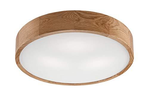 Moderne Deckenlampe Wohnzimmer Flur Holz Glas rund Ø47cm flach vielseitig ARBARO Holzlampe