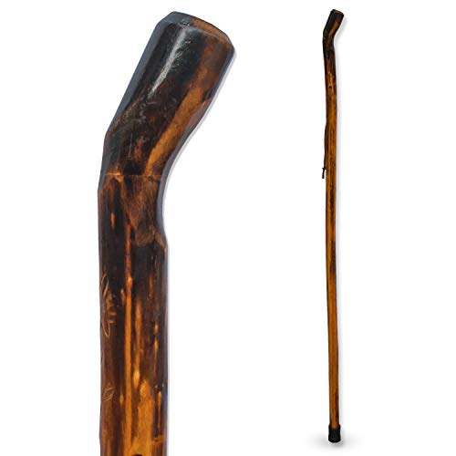 RMS Natural Wood Walking Stick - 48 Inch Handcrafted Wooden Hiking Stick and Trekking Pole with Wrist Strap - Ideal for Men or Women with Active Outdoor Lifestyle (Smooth Handle, 48 Inch)