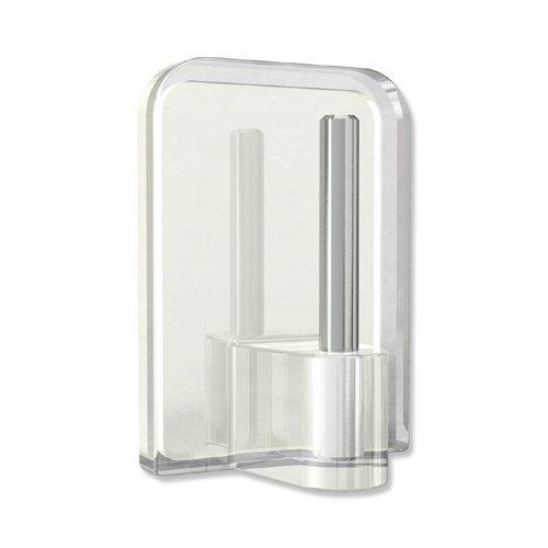 INTERDECO Klebehaken mit Metallstift, selbstklebend in Glasklar (Transparent) für Vitragestangen (8 Stück)