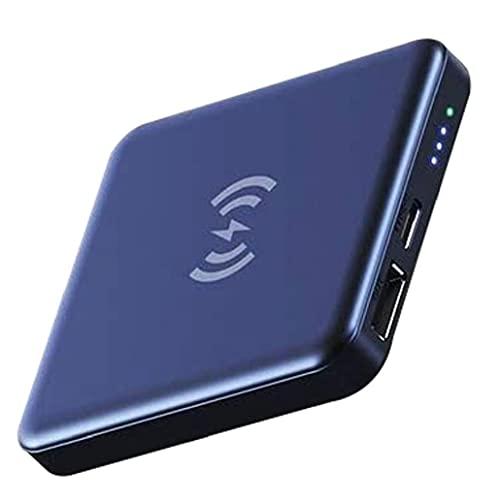 Odoukey Paquete de batería Externa Power Bank Mini Banco 5000mAh Cargador de teléfono inalámbrico con el imán Azul Patch