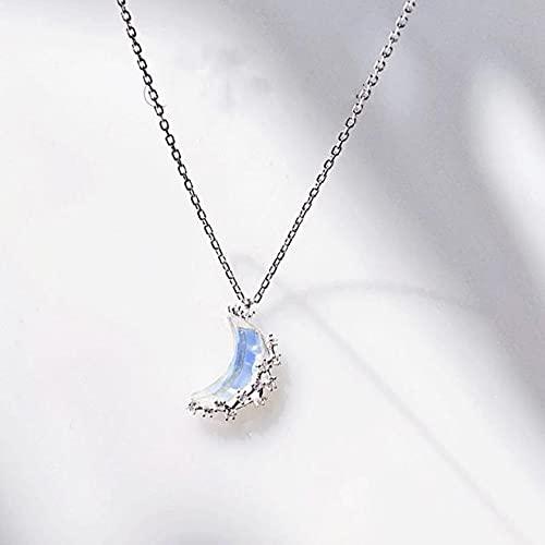 JIUXIAO Collar de Luna de Piedra Lunar de Plata de Ley 925 para Mujer, Collar de clavícula de Lujo Ligero para Mujer, joyería de Regalo para Estudiantes, Flyleaf