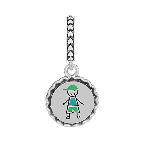 Diy Beads 925 Sterling Silver Boy Stick Figure Dangle Charm Fit Charms Bracelets Jewelry For Women Men Gift