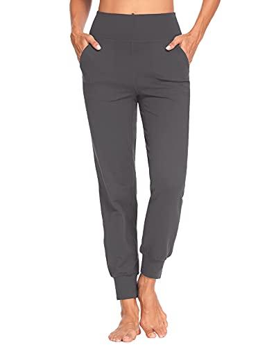 MOVE BEYOND Pantalones Deportivos para Mujer con 4 Bolsillos Cintura Alta Jogger Chandal de Fitness Yoga, Largos, Gris, S