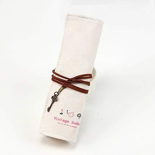 Hmg Linda Holder Bolsa de Mano Suministros Roll Up papelería lápiz Bolsa de papelería (Beige) (Color : Beige)