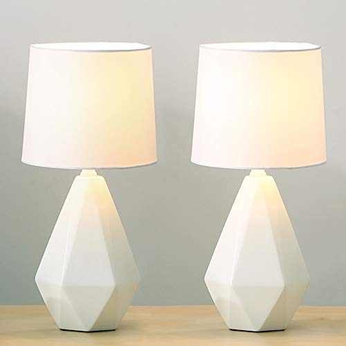 SOTTAE Modern Ceramic Small White Irregular Geometric Livingroom Bedroom Bedside Table Lamp,Cute Desk Lamp with White Fabric Shade(Set of 2)