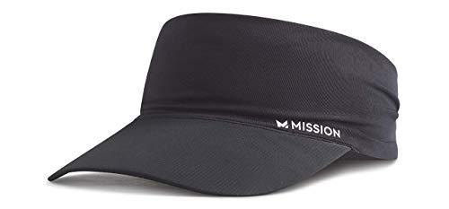 MISSION Cooling Stretchy Visor- Lightweight, No Slip Band, UPF 50- Black